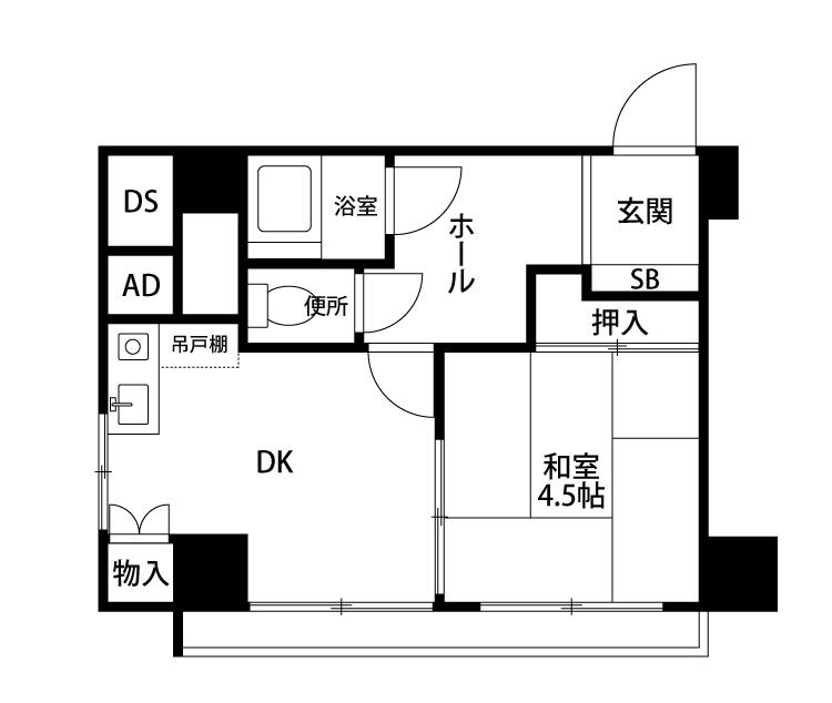 横浜市中区末吉町 区分マンション 3階-間取り