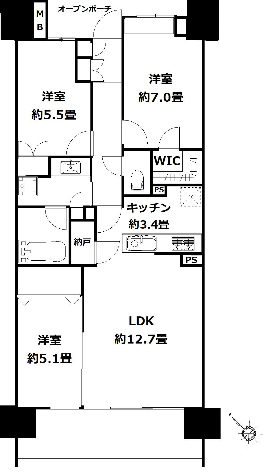 板橋区加賀一丁目 区分マンション-間取り